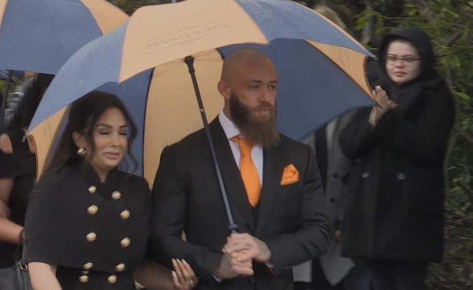 Ashley Cain and his partner Safiyya Vorajee during the funeral procession for Azaylia Cain in Nuneato