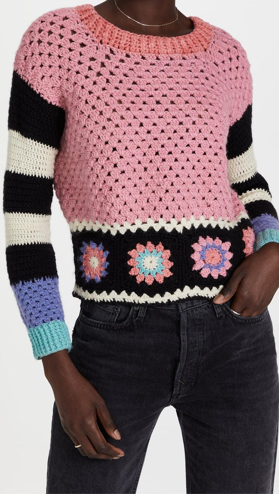 <p>This <span>Tach Clothing Ester Sweater</span> ($306) taps into the embellished crochet trend, so it'll be sure to get you noticed. We love the flower insertions at the bottom and the color-block print on the sleeves.</p>