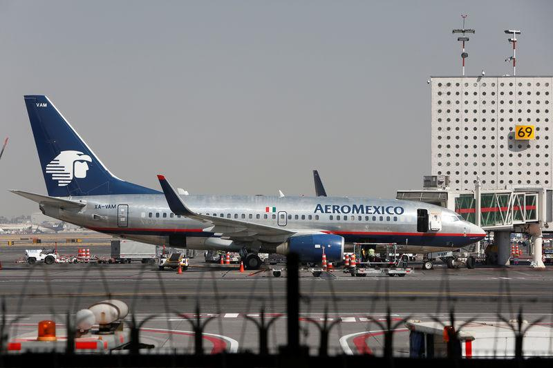 Aeromexico aeroplanes are pictured on the airstrip at Benito Juarez international airport in Mexico City
