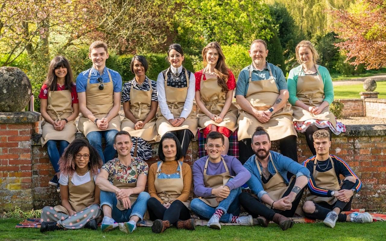 Baker's dozen - the 2019 cast: (Top row, left to right) Steph, Henry, Priya, Helena, Alice, Phil, Rosie. (Bottom row: Amelia, David, Michelle, Michael, Dan and Jamie - Mark Bourdillon/ Channel 4 images must not be altered or manipulated in any way. This picture may be