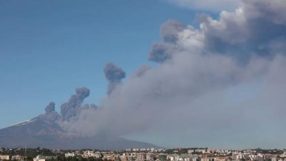 Ash From Mount Etna, Sicily, Italy. Eruption On Christmas Eve 2020 Sicilian volcano Mount Etna spews ash and lava on Christmas Eve