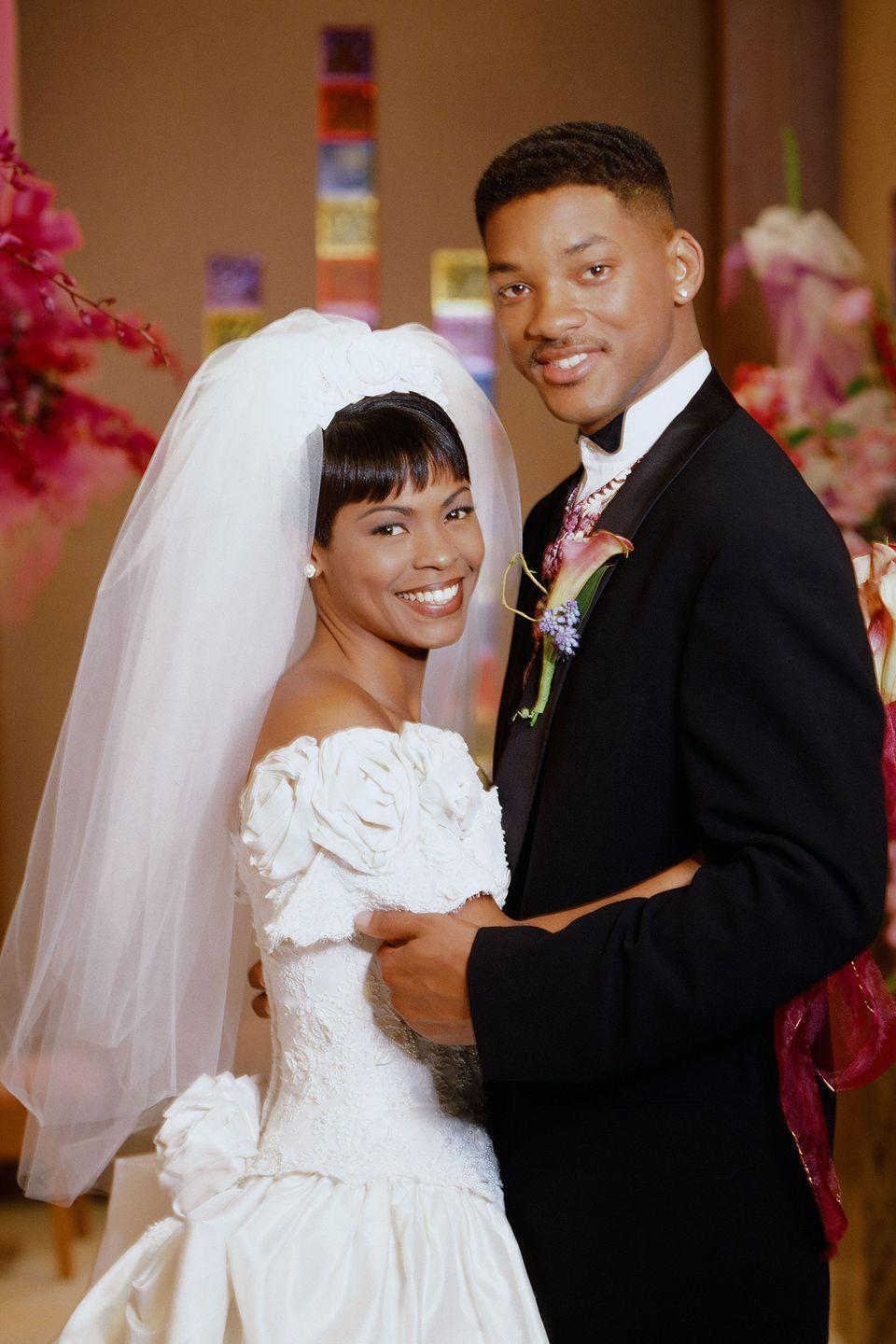<p>The Fresh Prince was set to abandon his womanizing ways by nearly marrying Lisa in season 5, but the wedding never happened. Although the couple agreed to call it quits, Lisa still looked gorgeous in an off-the-shoulder wedding dress with textured fabric and floral details. </p>