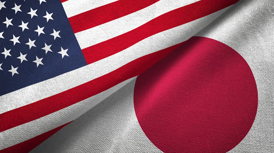 Japan and United States flags together realtions textile cloth fabric texture