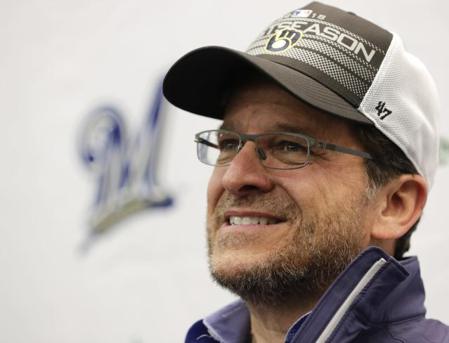 Milwaukee Brewers owner Mark Attanasio answers questions during a news conference before a baseball game between the Brewers and the Detroit Tigers Friday, Sept. 28, 2018, in Milwaukee. (AP Photo/Morry Gash)