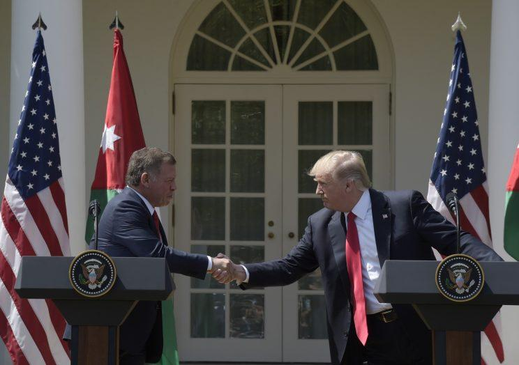 Jordan's King Abdullah II and President Trump in the Rose Garden of the White House