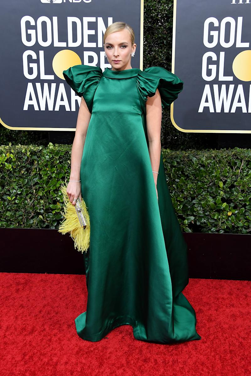 Jodie Comer at the 2020 Golden Globes in emerald green dress