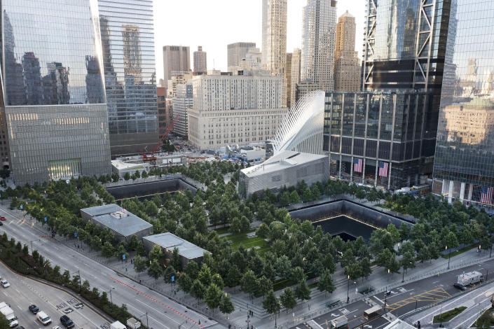 """FILE - The National September 11 Memorial and Museum appear on Sept. 11, 2017, in New York. Museum officials have objected and sought changes to """"The Outsider,"""" a documentary being released this week that reveals disputes that went into development of the New York landmark, which opened in 2014. (AP Photo/Mark Lennihan, File)"""