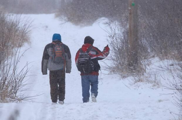 Two men walk along snow-covered trails in Happy Valley-Goose Bay that are popular among homeless men and women in the daytime.