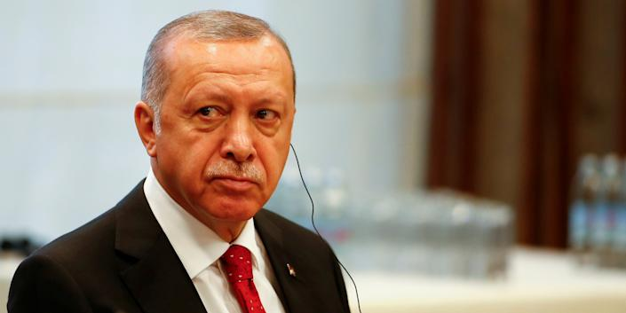 FILE PHOTO: Turkey President Recep Tayip Erdogan attends the South East European Cooperation Process (SEECP) summit in Sarajevo, Bosnia and Herzegovina, July 9, 2019. REUTERS/Dado Ruvic/File Photo