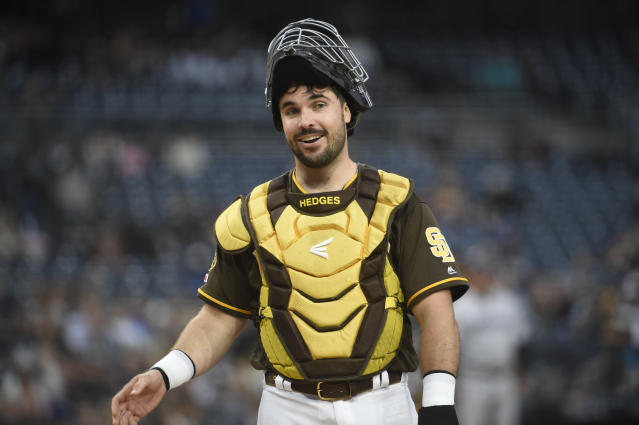 San Diego Padres catcher Austin Hedges currently leads all catchers with 13 runs saved. (Getty Images)
