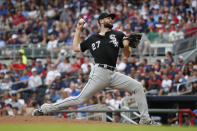 Chicago White Sox starting pitcher Lucas Giolito works in the fifth inning of a baseball game against the Atlanta Braves, Sunday, Sept. 1, 2019, in Atlanta. (AP Photo/John Bazemore)