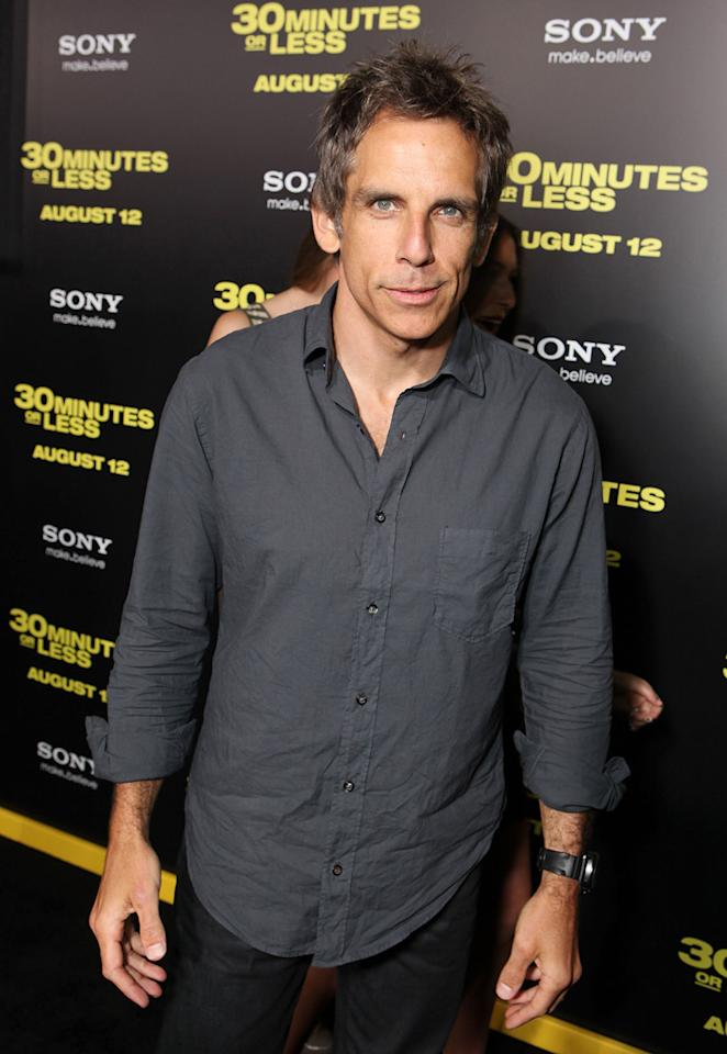 """<a href=""""http://movies.yahoo.com/movie/contributor/1800019193"""">Ben Stiller</a> at the Los Angeles premiere of <a href=""""http://movies.yahoo.com/movie/1810160427/info"""">30 Minutes or Less</a> on August 8, 2011."""