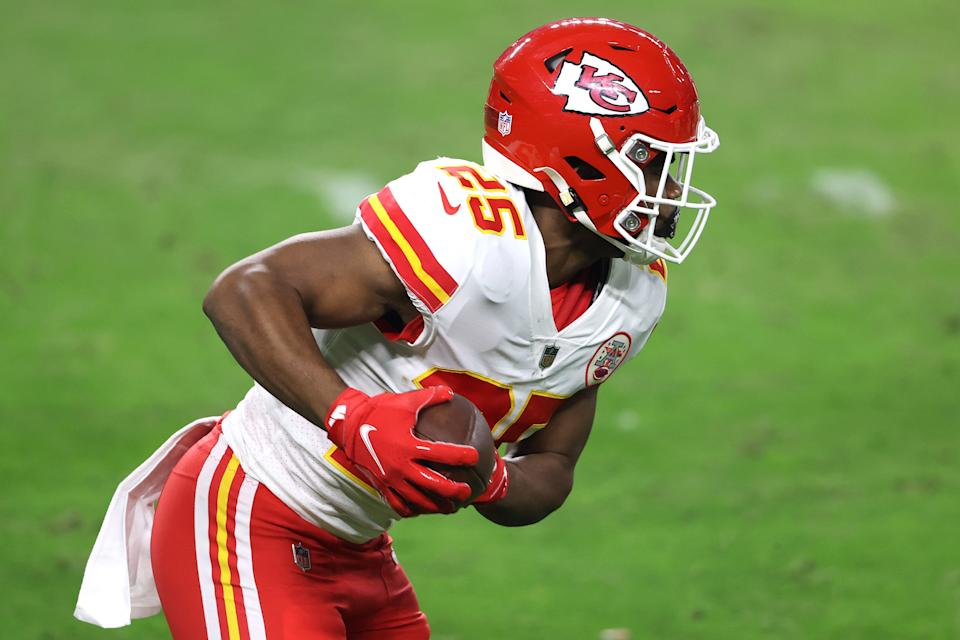 Running back Clyde Edwards-Helaire #25 of the Kansas City Chiefs