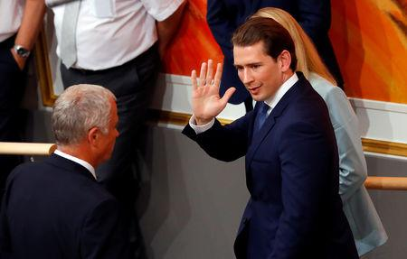 Austrian Chancellor Sebastian Kurz waves as he leaves a session of the Parliament in Vienna, Austria May 27, 2019. REUTERS/Leonhard Foeger