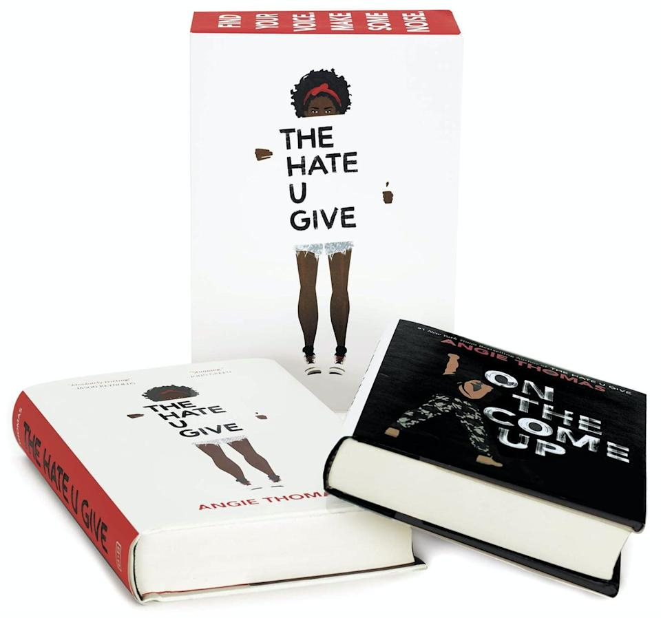 "<p>If you have a reader on your hands, this <span>Angie Thomas Two-Book Box Set</span> ($20) featuring <b>The Hate U Give</b> and <b>On the Come Up</b> is a great gift - then they can <a href=""https://play.hbomax.com/feature/urn:hbo:feature:GXLSuvwyDwayWuwEAAAAH?utm_id=sa%7c71700000067030777%7c58700005868654303%7cp53631644808&gclid=EAIaIQobChMI97qi--q56wIVQuG1Ch2vvAjYEAAYASAAEgKEzPD_BwE&gclsrc=aw.ds"" class=""link rapid-noclick-resp"" rel=""nofollow noopener"" target=""_blank"" data-ylk=""slk:watch The Hate U Give on HBO Max"">watch <b>The Hate U Give</b> on HBO Max</a> after!</p>"