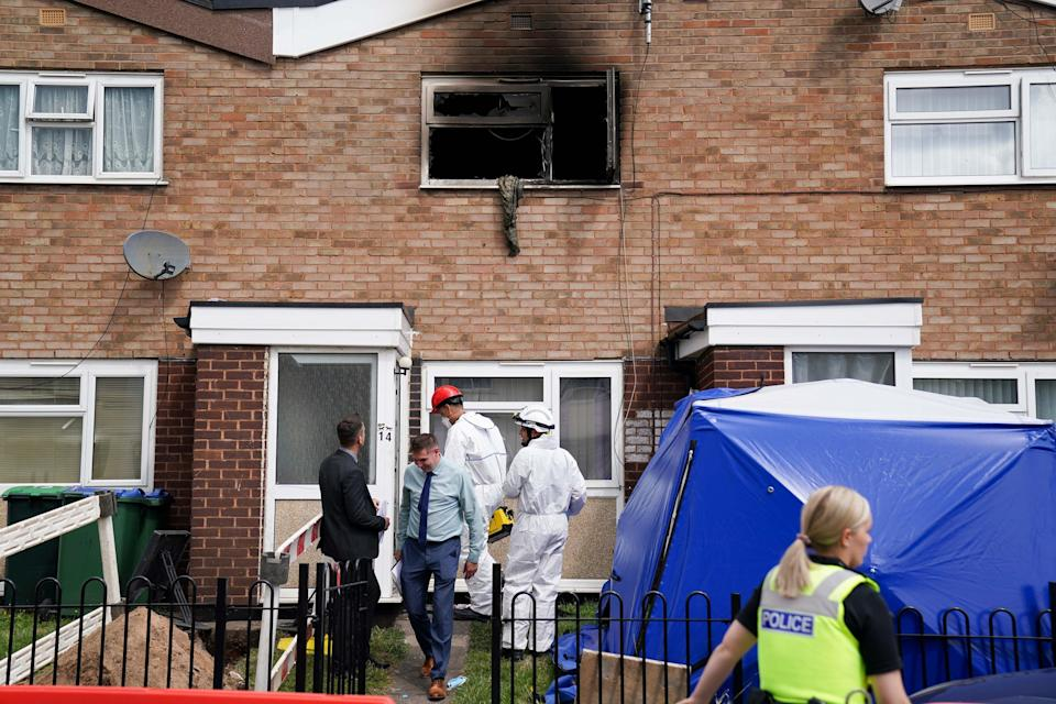 Two people and a dog were rescued from the scene, but a man and the pet died (Jacob King/PA) (PA Wire)