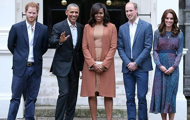 L-R Prince Harry, President Obama, Michelle Obama, Prince William and Duchess Kate at a recent meeting. Photo: Getty