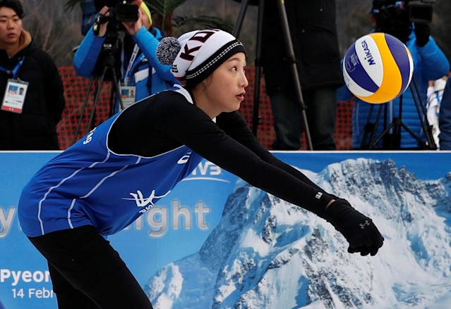 Pyeongchang 2018 Winter Olympics - Pyeongchang - South Korea – February 14, 2018. Kim Yeon-Koung of South Korea returns the ball during an event promoting the Snow Volleyball hosted by the International Volleyball Federation (FIVB) and European Volleyball Confederation (CEV). REUTERS/Kim Hong-Ji