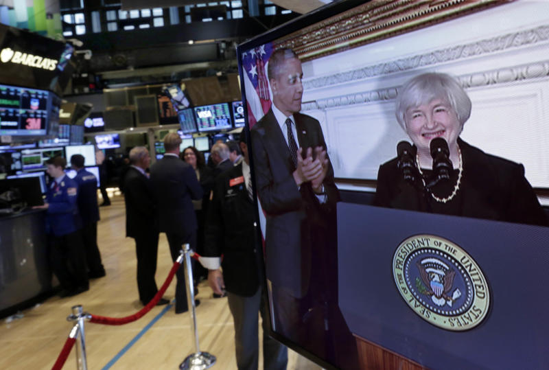 Federal Reserve Chair nominee Janet Yellen's introduction by President Barack Obama is shown on a television monitor on the trading floor of the New York Stock Exchange Wednesday, Oct. 9, 2013. President Obama says that in Janet Yellen he's found a tough and proven leader to take over as chairman of the Federal Reserve. (AP Photo/Richard Drew)