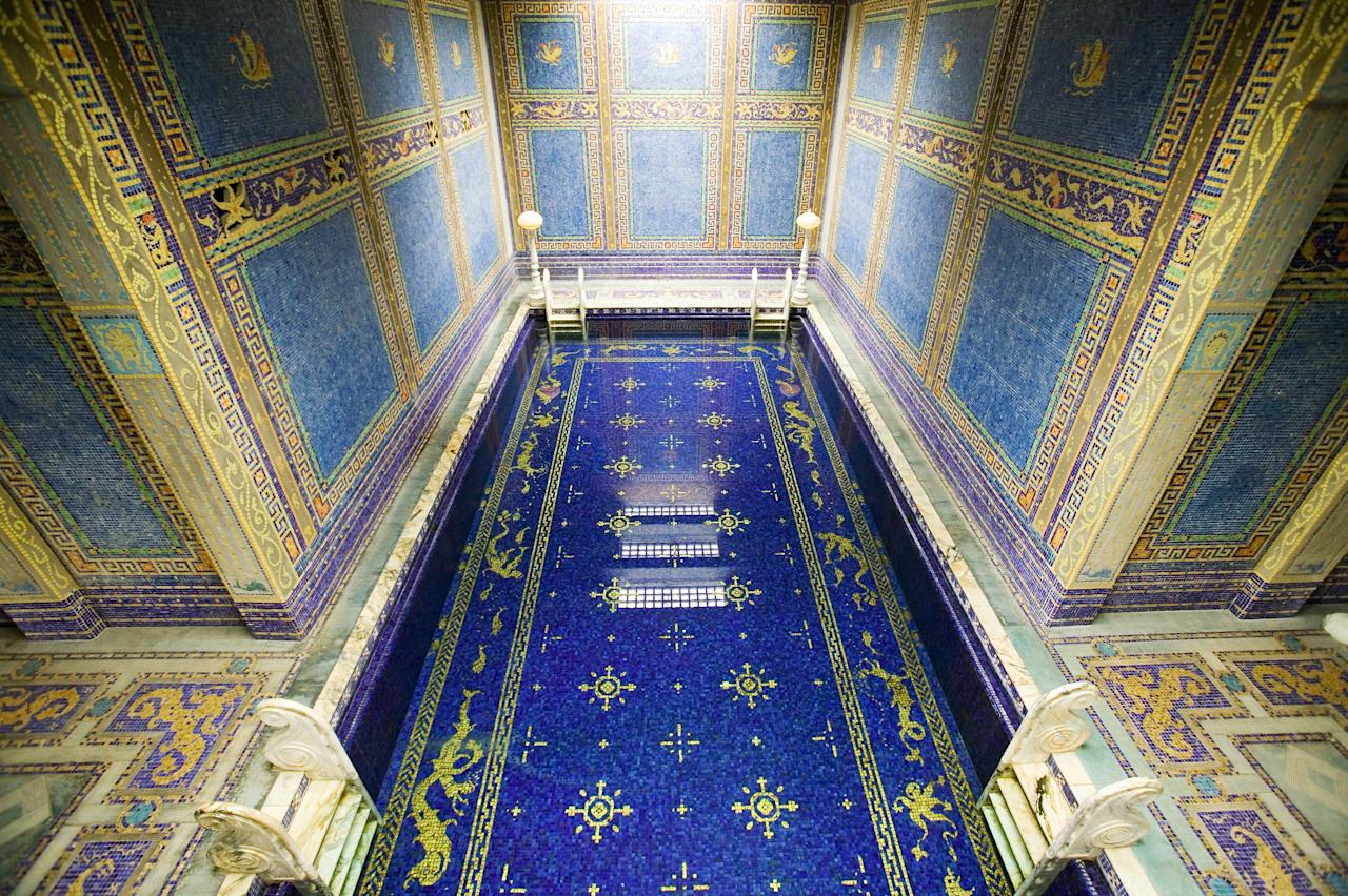 Many of Hollywood's brightest stars swam at <strong>Hearst Castle</strong>'s indoor pool in San Simeon, California. The majestically tiled pool is surrounded by eight statues of Roman gods, goddesses, and heroes.