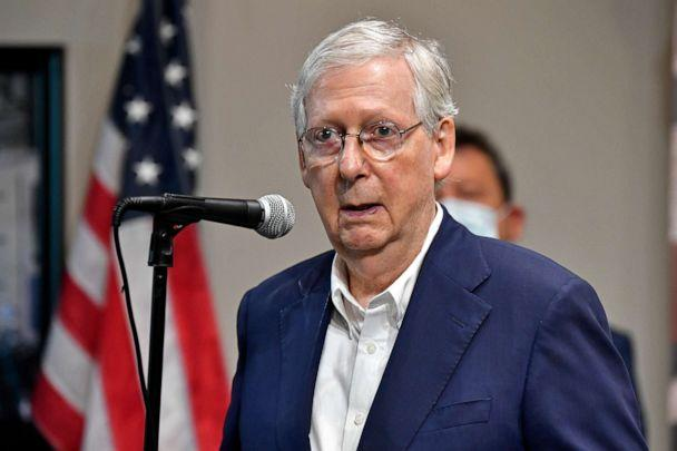 PHOTO: Senate Majority Leader Mitch McConnell, R-Ky., speaks with reporters during a visit to the Boundary Oak Distillery in Radcliff, Ky., Wednesday, Aug. 19, 2020. (Timothy D. Easley/AP)