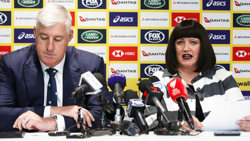 Rugby Australia Chairman Cameron Clyne and Rugby Australia CEO Raelene Castle speak to the media during a Rugby Australia press conference at Rugby Australia Building on December 17, 2018 in Sydney, Australia. (Photo by Mark Kolbe/Getty Images)