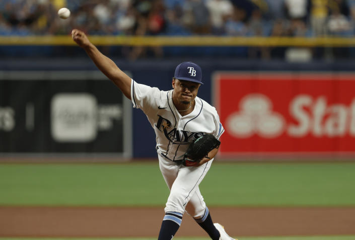 Tampa Bay Rays starting pitcher Chris Archer works from the mound against the Minnesota Twins during the first inning of a baseball game on Saturday, Sept. 4, 2021, in St. Petersburg, Fla. (AP Photo/Scott Audette)