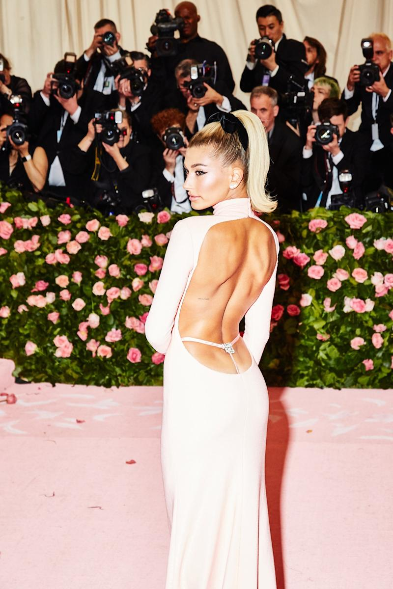 Hailey Bieber on the red carpet at the Met Gala in New York City on Monday, May 6th, 2019. Photograph by Amy Lombard for W Magazine.