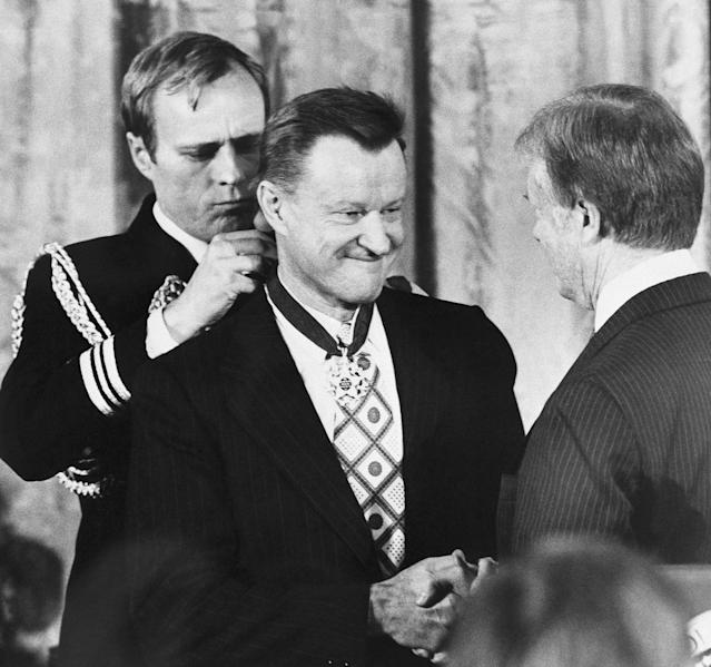 <p>President Carter shakes hands with his national security adviser, Zbigniew Brzezinski, as he presents Brzezinski with the Medal of Freedom at a White House ceremony on Friday, Jan. 17, 1981 in Washington. Brzezinski was one of 15 recipients of the nation?s highest civilian awards, presented for service to U. S. security or national interests, world peace or cultural endeavors. (Photo: AP) </p>