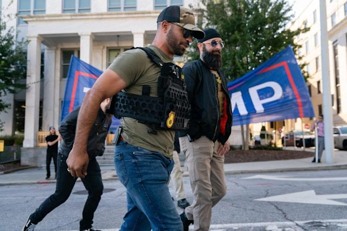 "Enrique Tarrio, leader of the Proud Boys, a far-right group, is seen at a ""Stop the Steal"" rally against the results of the U.S. Presidential election outside the Georgia State Capitol on November 18, 2020 in Atlanta, Georgia. (Photo by Elijah Nouvelage/Getty Images)"