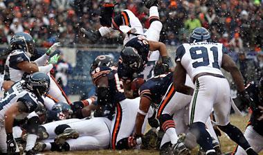 Matt Forte attempts an end zone dive against the Seahawks. The Bears are 10-0 when rushing at least 21 times in a game this season