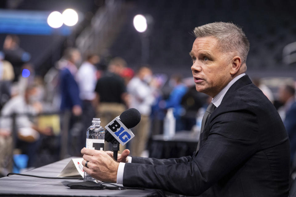 Ohio State men's head coach Chris Holtmann addresses the media during the first day of the Big Ten NCAA college basketball media days, Thursday, Oct. 7, 2021, in Indianapolis. (AP Photo/Doug McSchooler)