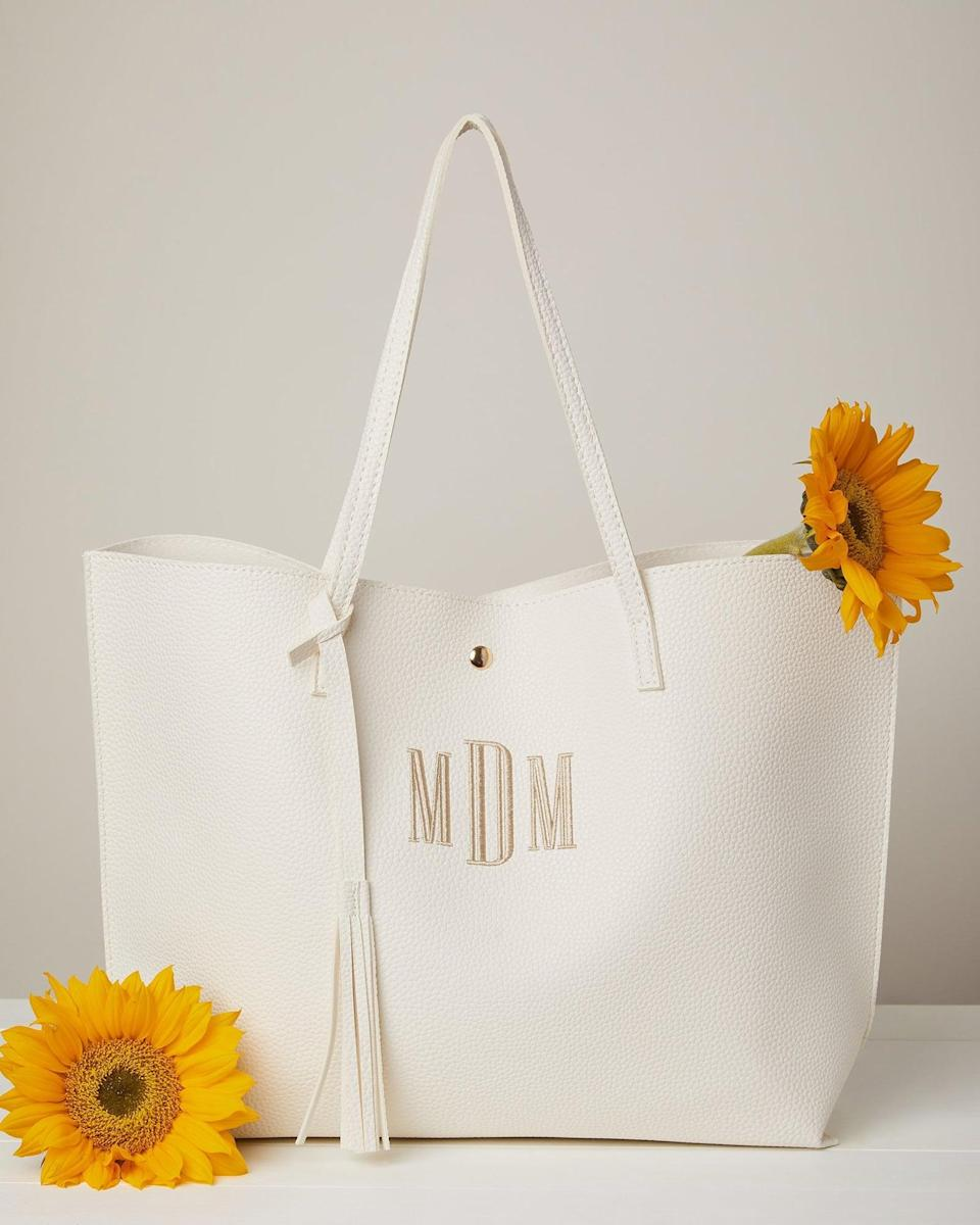 <p>They will appreciate and make use of this <span>Monogrammed Faux Leather Tote Bag</span> ($29). It can fit so much, perfect for running errands and taking on the work day.</p>