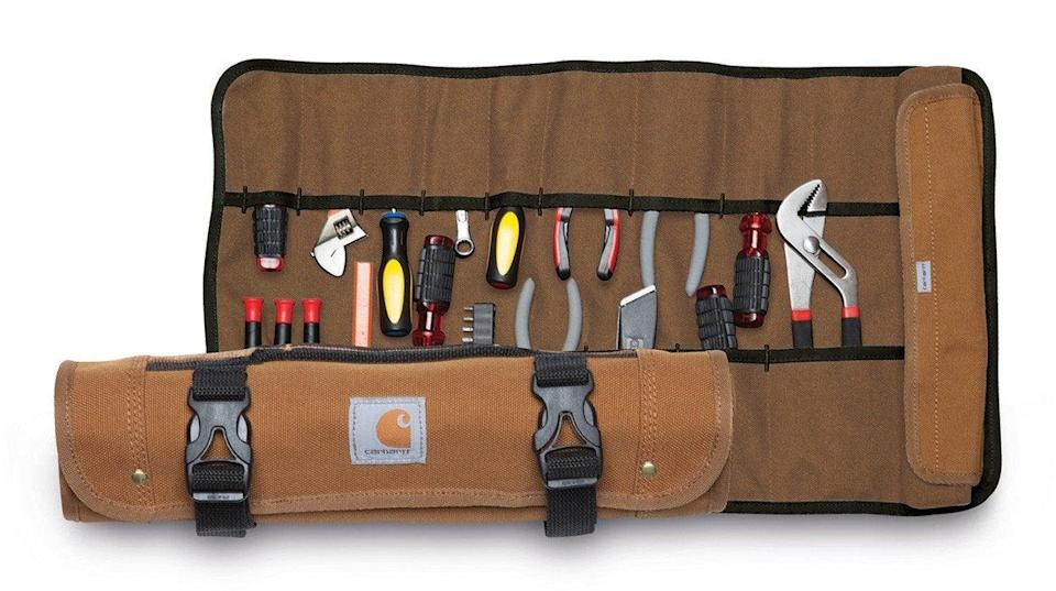 """If you're short on space, a tool roll is a great option for storing your tool selection. Carhartt is a classic for a reason.<br><br><strong>Carhartt</strong> Carhartt Legacy Tool Roll, $, available at <a href=""""https://www.graniteworkwear.com/p_10672_carhartt-legacy-tool-roll?pvid=60336"""" rel=""""nofollow noopener"""" target=""""_blank"""" data-ylk=""""slk:Granite Workwear"""" class=""""link rapid-noclick-resp"""">Granite Workwear</a>"""