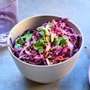 """<p>Combining a trio of purple vegetables--cabbage, carrots and daikon--makes for a stunning slaw recipe. It would be equally delicious tossed with a classic creamy dressing. <a href=""""http://www.eatingwell.com/recipe/279070/purple-power-slaw-with-sesame-ginger-vinaigrette/"""" rel=""""nofollow noopener"""" target=""""_blank"""" data-ylk=""""slk:View recipe"""" class=""""link rapid-noclick-resp""""> View recipe </a></p>"""