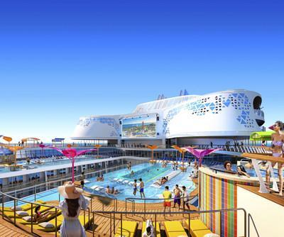 Setting sail in the U.S. and Europe in 2022, the new Wonder of the Seas brings to life a pool deck experience with Caribbean vibes, live music and more. Signature bar The Lime & Coconut is on deck, alongside The Perfect Storm high-speed waterslides, kids aqua park Splashaway Bay, casitas, in-pool loungers, and the largest poolside movie screen in the Royal Caribbean fleet.