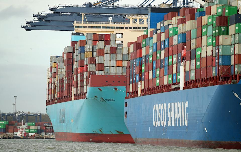 Containers are seen aboard the the CSCL Mercury at the Port of Felixstowe. Photo: Peter Cziborra/Reuters