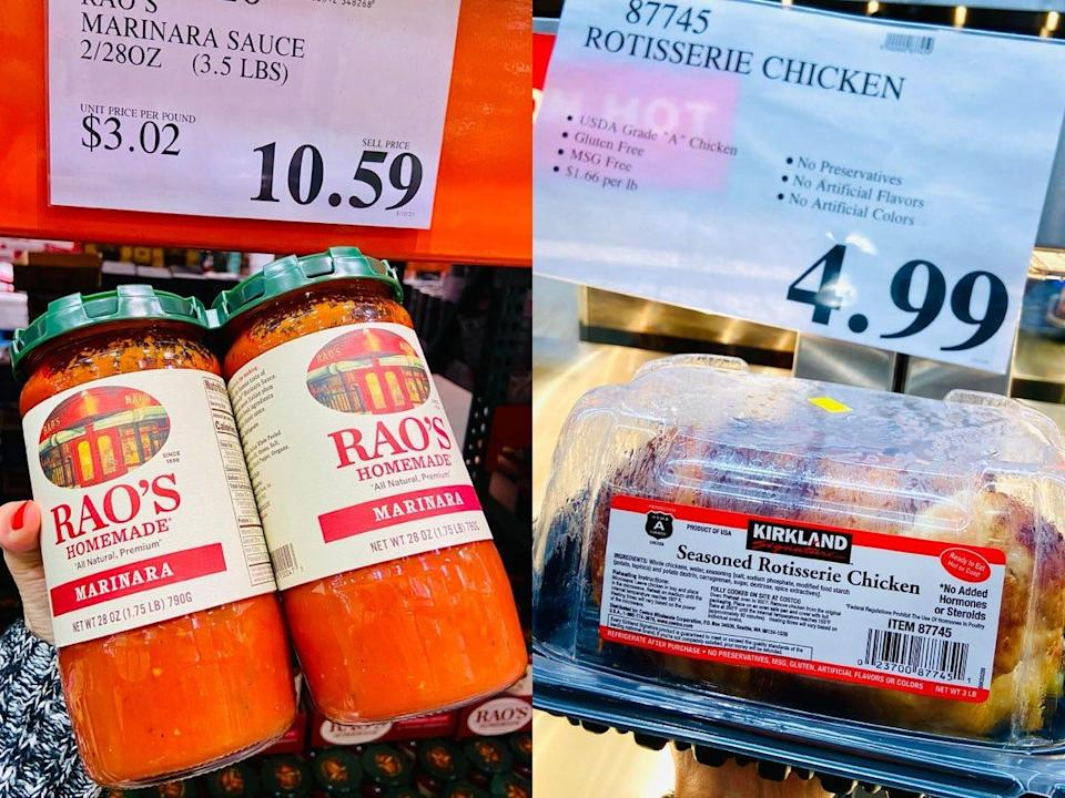 On the left, hand holding two jars of Rao's marinara sauce. On the right, hand holding a plastic container of costco rotisserie chicken.