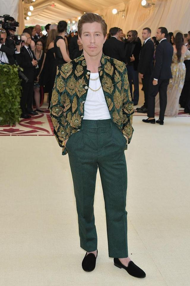 <p>Shaun White attends the Heavenly Bodies: Fashion & The Catholic Imagination Costume Institute Gala at The Metropolitan Museum of Art on May 7, 2018 in New York City. (Photo: Getty Images) </p>