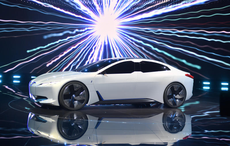 BMW i vision dynamics is presented at a BMW event during the first media day of the International Frankfurt Motor Show IAA in Frankfurt, Germany, Tuesday, Sept. 12, 2017, which runs through Sept. 24, 2017. From frighteningly fast hypercars to new electric SUVs, the Frankfurt auto show is a major event for car lovers wanting to get a glimpse of the future. (AP Photo/Martin Meissner)