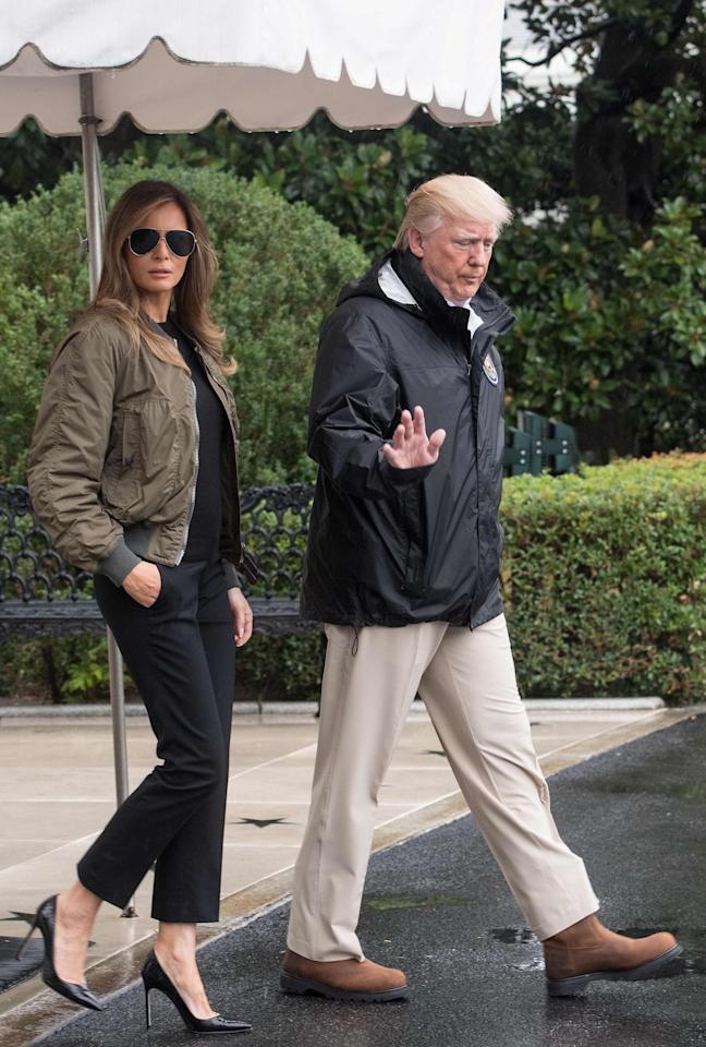 "<p>The FLOTUS raised eyebrows globally when she set out to visit victims of Hurricane Harvey with her husband, wearing a pair of Manolo Blahnik heels. The fashion choice caused outrage with numerous people, who called the First Lady insensitive for wearing such an expensive pair of shoes when some of Texas' residents had lost all of their belongings (despite changing shoes when she landed). ""Who wears stilettos to a hurricane?"" asked <a rel=""nofollow"" href=""https://www.vanityfair.com/style/2017/08/melania-trump-hurricane-harvey-heels"">Vanity Fair</a>. <em>[Photo: Getty]</em> </p>"