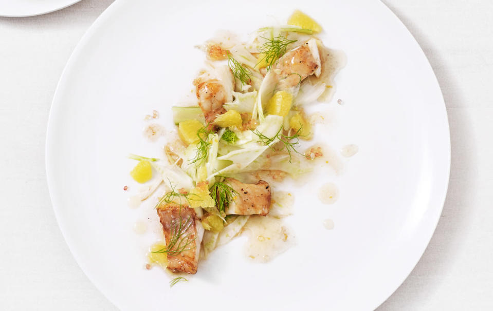 Marinated poached cod with orange and fennel salad. Source: Angostura