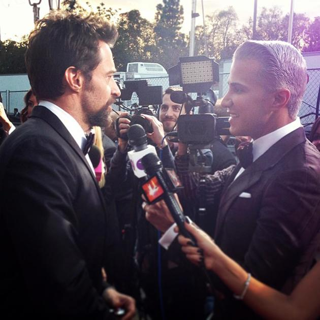 The always dapper @realhughjackman chatting w/ me about his Hollywood Style Crush... Find out who on @TheThread ! - @MrJayManuel
