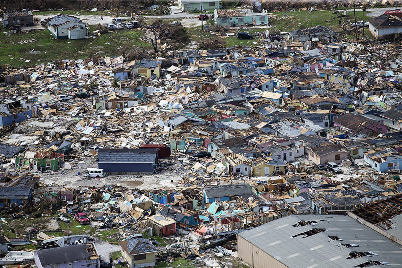 This photo shows destruction from Hurricane Dorian at Marsh Harbour in Great Abaco Island, the Bahamas, Sept. 4, 2019. (Photo: Al Diaz/Miami Herald via AP)