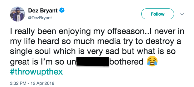 Dez Bryant believes the media has been out to get him this offseason. (Screenshot via @DezBryant on Twitter)