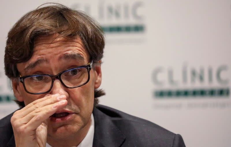 FILE PHOTO: Spain's Health Minister Salvador Illa attends a news conference at Hospital Clinic in Barcelona