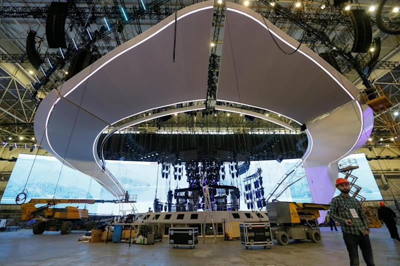 The stage being built for Eurovision at the International Exhibition Centre in Kiev, Ukraine (REUTERS)