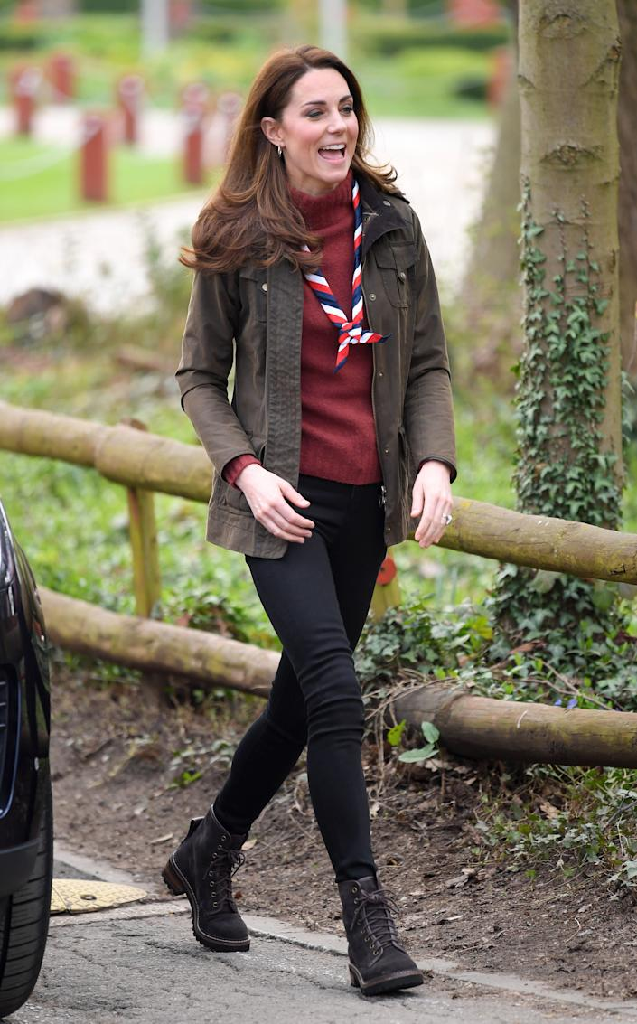 The duchess visits the Scouts' headquarters at Gilwell Park in Epping, England, on March 28.