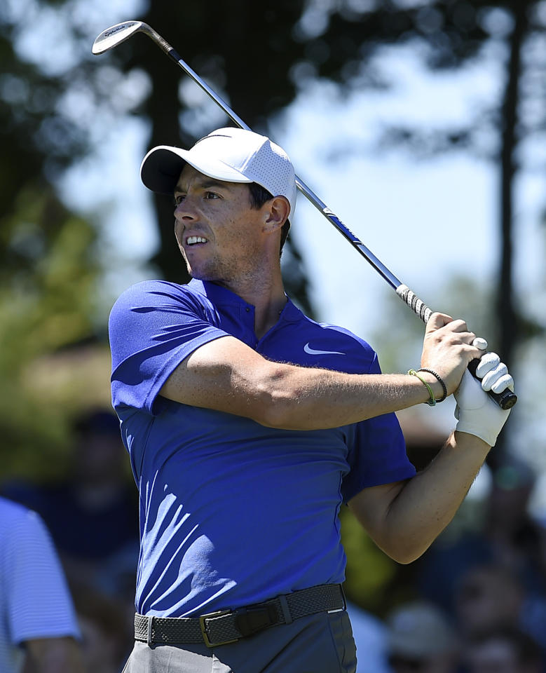 Rory McIlroy tees off the 11th hole during the final round of the Travelers Championship golf tournament, Sunday, June 25, 2017, in Cromwell, Conn. (AP Photo/Jessica Hill)