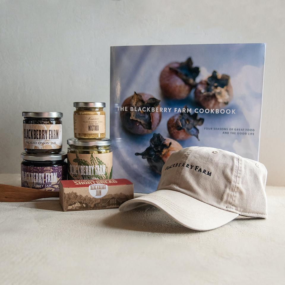 """<p><strong>Blackberry Farm</strong></p><p>goldbelly.com</p><p><strong>$249.00</strong></p><p><a href=""""https://go.redirectingat.com?id=74968X1596630&url=https%3A%2F%2Fwww.goldbelly.com%2Fblackberry-farm%2Ftaste-of-the-farm&sref=https%3A%2F%2Fwww.townandcountrymag.com%2Fleisure%2Fdining%2Fg36085441%2Fbest-meat-and-cheese-gift-baskets%2F"""" rel=""""nofollow noopener"""" target=""""_blank"""" data-ylk=""""slk:Shop Now"""" class=""""link rapid-noclick-resp"""">Shop Now</a></p><p><a href=""""https://www.townandcountrymag.com/leisure/travel-guide/a856/relais-chateaux-resort-blackberry-farm/"""" rel=""""nofollow noopener"""" target=""""_blank"""" data-ylk=""""slk:Blackberry Farm"""" class=""""link rapid-noclick-resp"""">Blackberry Farm</a>, in Walland, Tennessee, has long been a T&C favorite. The Smoky Mountains resort is an epicure's paradise, and now you can get a sense of why that is shipped directly to your home. The ingredients in this gift box are all made at the James Beard Award-winning farm. They include two seasonal cheese, Sheep's Pimento cheese, sweet hot mustard, blackberry shortbread cookies, blackberry jam, blueberry jam, buttermilk biscuits, smoked onion jam, tomato-brined okra, and a <a href=""""https://go.skimresources.com/?id=74968X1525087&xs=1&url=https%3A%2F%2Fwww.amazon.com%2FFoothills-Cuisine-Blackberry-Farm-Ancestors%2Fdp%2F0307886778"""" rel=""""nofollow noopener"""" target=""""_blank"""" data-ylk=""""slk:Blackberrry Farm cookbook"""" class=""""link rapid-noclick-resp"""">Blackberrry Farm cookbook</a> and cap. Sorry—<a href=""""https://www.townandcountrymag.com/leisure/travel-guide/news/a4257/truffle-hunting-puppies-at-blackberry-farm/"""" rel=""""nofollow noopener"""" target=""""_blank"""" data-ylk=""""slk:Blackbery Farm puppy"""" class=""""link rapid-noclick-resp"""">Blackbery Farm puppy</a> not included. </p>"""